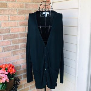NWOT- Black button front cardigan in black